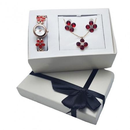 Poze Set cadou de Dama, Janine, cu ceas, cercei si lantisor cu pandantiv