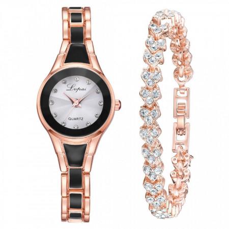 Poze Set ceas dama, Alice, ceas si bratara, bicolor, negru cu auriu
