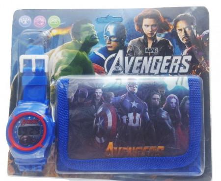 Poze Set Ceas pentru baietei cu portofel, tip Avangers, model 3