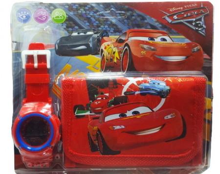 Poze Set Ceas pentru baietei cu portofel, tip Cars, model 1