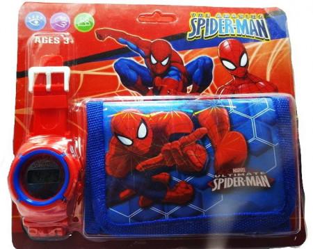 Poze Set Ceas pentru baietei cu portofel, tip Spider Man, model 1