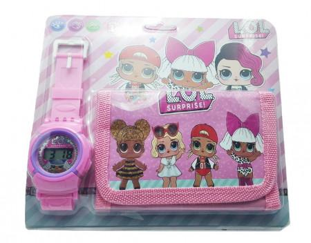 Poze Set Ceas pentru fetite cu portofel, tip LOL Surprise, model 2