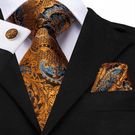 Poze Set cravata + batista + butoni - matase naturala 100% - model 33