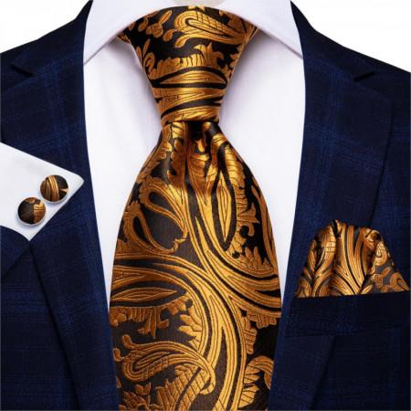 Poze Set cravata + batista + butoni - matase naturala 100%, tesatura Jaquard - model 40