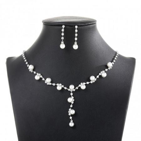 Poze Set elegant (colier si cercei) cu cristale si perlute