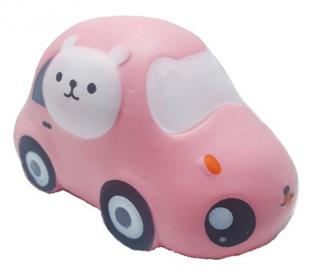 Poze Squishy Jumbo ieftina model masinuta cu pisicuta, roz