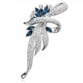 Poze Brosa eleganta - floare cu cristale - argintie