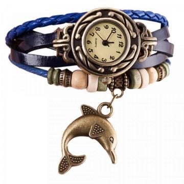 Poze Ceas de dama, pandant delfin - albastru