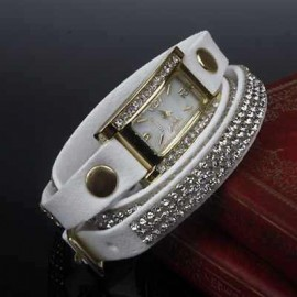 Ceas fashion de dama cu cristale, alb
