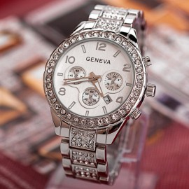 Poze Ceas Geneva Multi-crystals, afisaj data - argintiu + cutie eleganta cadou