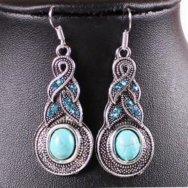 Poze Cercei dama stil vintage / chic cu Turquoise si cristale