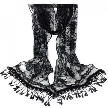 Poze Esarfa / sal din dantela, dimensiune mare 180 x 48 cm, cu broderie, neagra