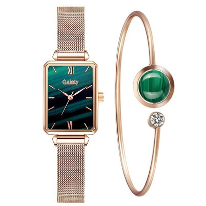 Poze Set Ceas dama bratara magnetica + bratara, rose golden + verde in degrade