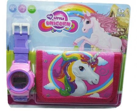 Poze Set Ceas pentru fetite cu portofel, My Little Unicorn, model 3