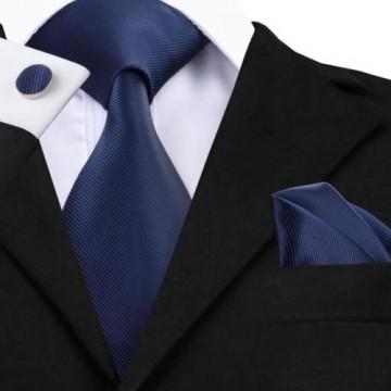 Poze Set cravata + batista + butoni - matase naturala 100% - bleumarine