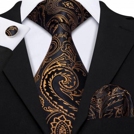 Poze Set cravata + batista + butoni - matase naturala 100% - model 11