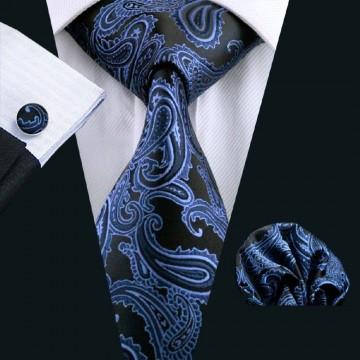 Poze Set cravata + batista + butoni - matase naturala 100% - model 4