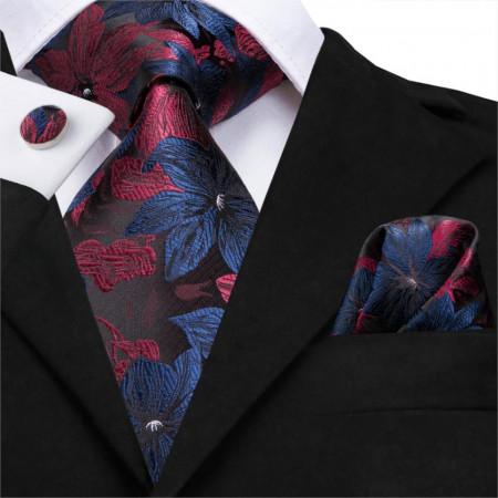 cravata matase naturala 100%, set cu batista si butoni
