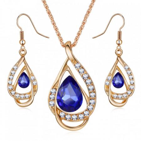 bijuterii fashion ieftine set colier si cercei cristale albastre
