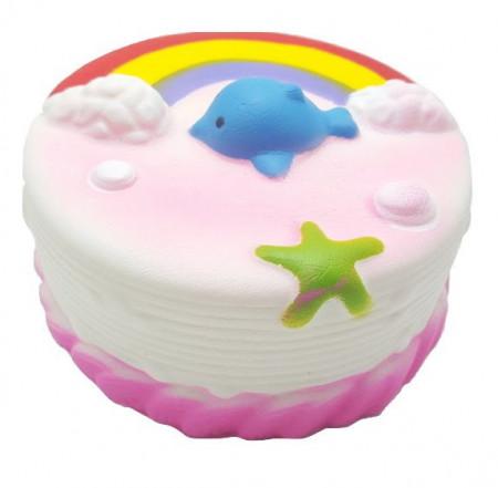 Poze Squishy Jumbo, model tortulet curcubeu cu norisori, delfinas si stea de mare, roz