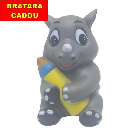 Poze Squishy parfumata model pui de rinocer cu biberon, gri