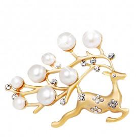 Poze Brosa fashion cu perlute si cristale, model cerb - auriu