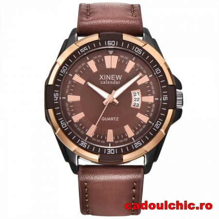 Poze Ceas barbatesc masiv Xinew Time Master - brown + Cutie cadou