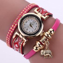 Poze Ceas dama cu cristale si pandant elefant (simbolul norocului) - rose - red