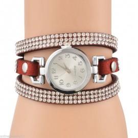 Poze ceas dama cu cristale Sophie - red wine