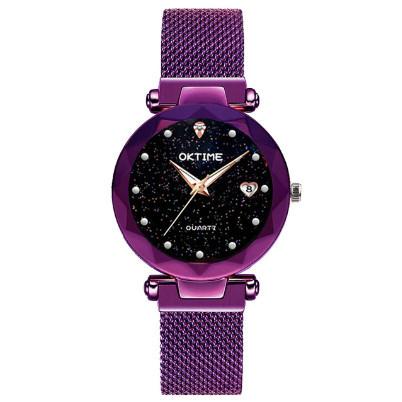 Poze Ceas dama Starry Sky, afisaj data si bratara magnetica, fosforescent, purple