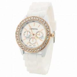 Poze Ceas Geneva de dama cu cristale - alb cu auriu