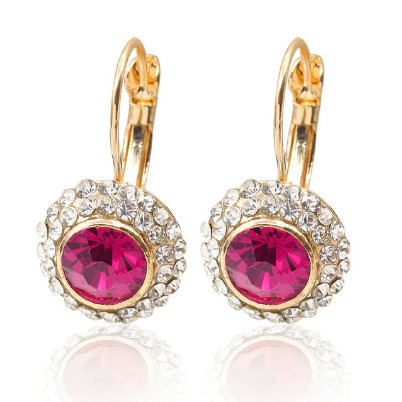 Poze Cercei eleganti cu cristale , golden purple-red