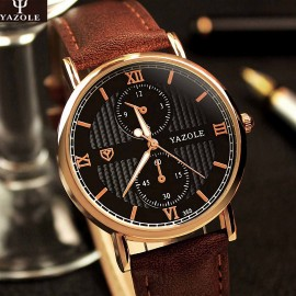 Elegant ceas barbatesc Yazole, stil casual - Brown