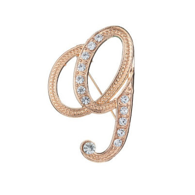Poze Eleganta brosa cu cristale - litera - G