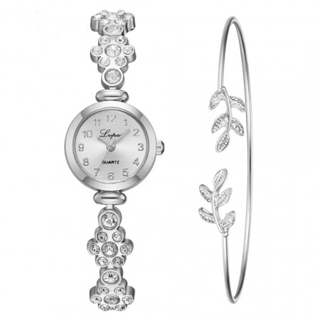 Poze Set Ceas dama elegant cu cristale + bratara, set cadou, model 1
