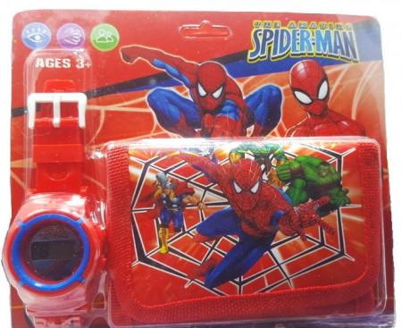 Poze Set Ceas pentru baietei cu portofel, tip Spider Man