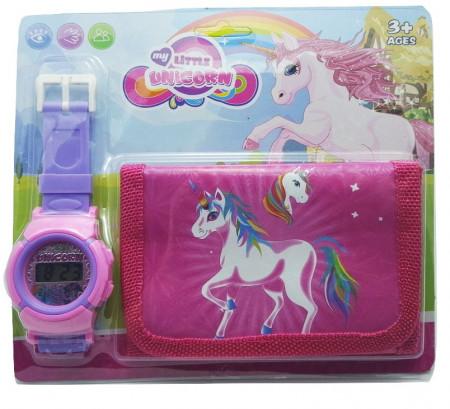 Poze Set Ceas pentru fetite cu portofel, My Little Unicorn, model 2