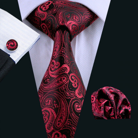 Poze Set cravata + batista + butoni - matase naturala 100% - model 12
