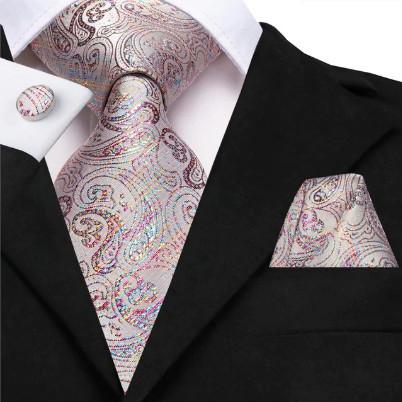 Poze Set cravata + batista + butoni - matase naturala 100%, tesatura Jaquard - model 28
