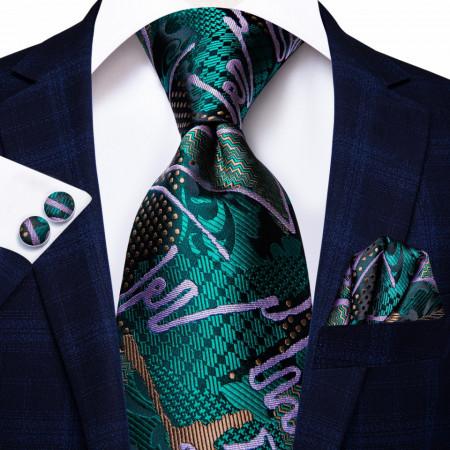 cravata matase naturala cu batista si butoni la set