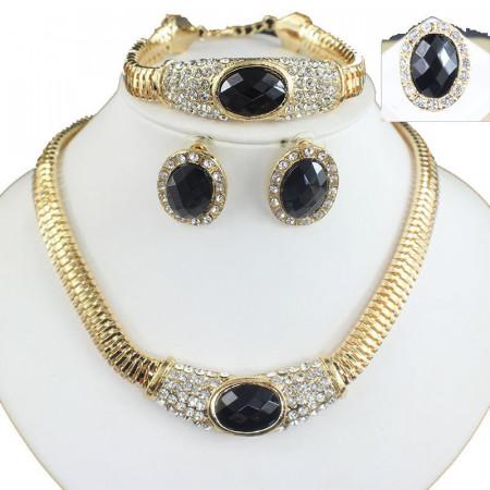 Poze Set elegant (colier, cercei, bratara si inel), cu piatra fatetata si cristale