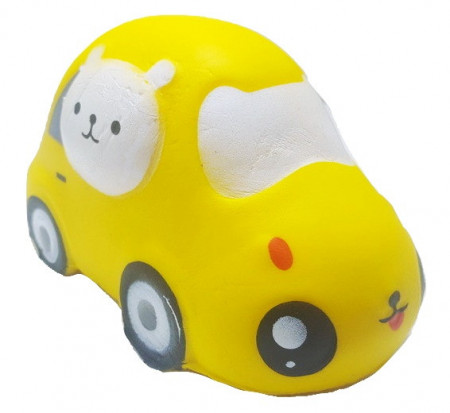 Poze Squishy Jumbo ieftina model masinuta cu pisicuta, galbena