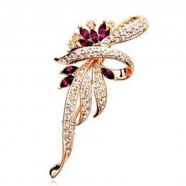 Poze Brosa eleganta - floare cu cristale - auriu