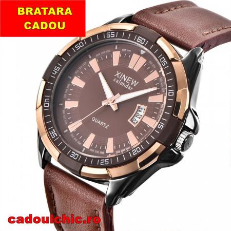 Ceas barbatesc ieftin masiv Xinew Time Master - brown + Cutie cadou
