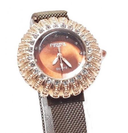 Poze Ceas dama bratara magnetica, Crystal Time, maro + cutie eleganta cadou