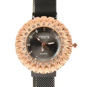 Poze Ceas dama bratara magnetica, Crystal Time, negru + cutie eleganta cadou