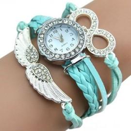 Poze Ceas dama cu cristale si ornamente metalice (aripi de inger) - blue