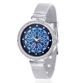 Ceas dama metalic, model floral - albastru