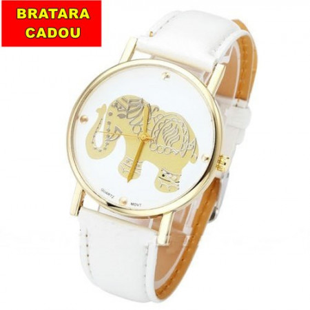 Poze Ceas dama model elefant auriu - alb