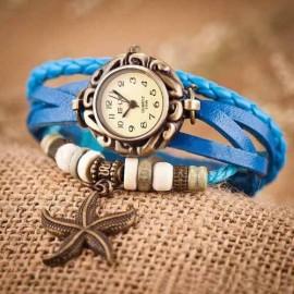 Ceas dama vintage cu pandant stea de mare - blue